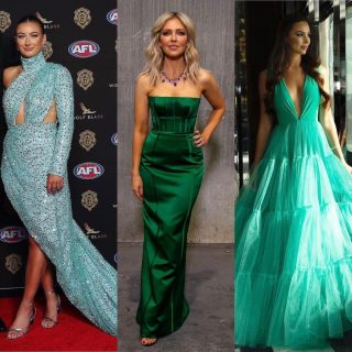 This years Brownlow Red Carpet has us obsessed with green tones. Wow ladies you look insane ✨👑  #brownlow2021 #brownlowredcarpet #afl
